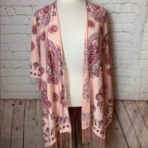 Time & Tru Pink fringed Duster